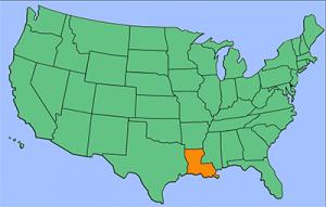 USA map with Louisiana