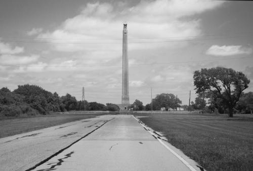 Approaching the San Jacinto Monument, Texas in monochrome