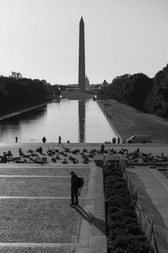 Monument from Lincoln Memorial BW