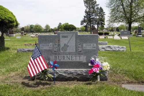 The tombstone memorial and resting place of Chester A Burnett aka the blues singer guitarist Howling Wolf
