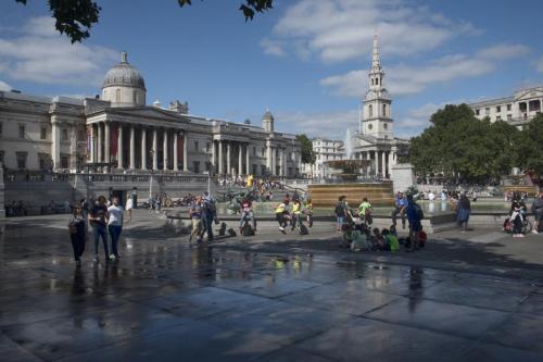 Trafalgar Square summer crowds