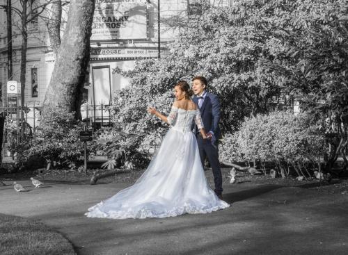 park-wedding-couple-bw